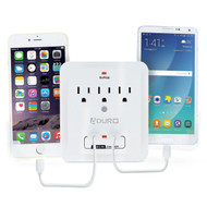 Surge Protector Multi Charging Station with 3 Outlets and 2 USB 2.1A Ports with Smartphone Cradles - White