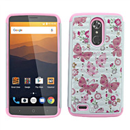 TotalDefense Diamond Hybrid Case for ZTE Max XL / Blade Max 3 - Butterfly Pink