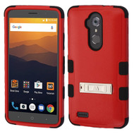 Military Grade Certified TUFF Hybrid Armor Case with Stand for ZTE Max XL / Blade Max 3 - Red