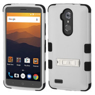 Military Grade Certified TUFF Hybrid Armor Case with Stand for ZTE Max XL / Blade Max 3 - Grey
