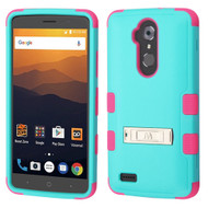 Military Grade Certified TUFF Hybrid Armor Case with Stand for ZTE Max XL / Blade Max 3 - Teal Green Hot Pink