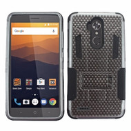 *Sale* Transformer Hybrid Armor Case with Stand for ZTE Max XL / Blade Max 3 - Carbon Fiber