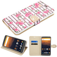 Luxury Bling Portfolio Leather Wallet Case for ZTE Max XL / Blade Max 3 - Pink Fresh Roses