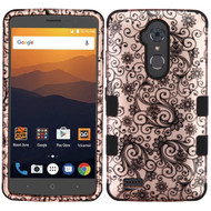 Military Grade Certified TUFF Image Hybrid Armor Case for ZTE Max XL / Blade Max 3 - Leaf Clover Rose Gold
