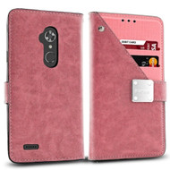 *Sale* Cosmopolitan Leather Canvas Wallet Case for ZTE Max XL / Blade Max 3 - Pink