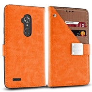 *SALE* Cosmopolitan Leather Canvas Wallet Case for ZTE Max XL / Blade Max 3 - Orange