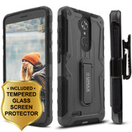 *SALE* Heavy Duty Hybrid Armor Case with Holster and Tempered Glass Protector for ZTE Max XL / Blade Max 3 - Black