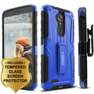 *SALE* Heavy Duty Hybrid Armor Case with Holster and Tempered Glass Screen Protector for ZTE Max XL / Blade Max 3 - Blue