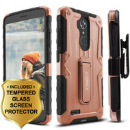 Heavy Duty Hybrid Armor Case with Holster and Tempered Glass Screen Protector for ZTE Max XL / Blade Max 3 - Rose Gold