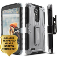 Heavy Duty Hybrid Armor Case with Holster and Tempered Glass Screen Protector for ZTE Max XL / Blade Max 3 - Silver