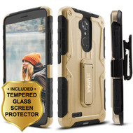 Heavy Duty Hybrid Armor Case with Holster and Tempered Glass Screen Protector for ZTE Max XL / Blade Max 3 - Gold