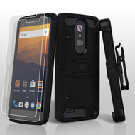 *SALE* 3-IN-1 Kinetic Hybrid Armor Case with Holster and Screen Protector for ZTE Max XL / Blade Max 3 - Black