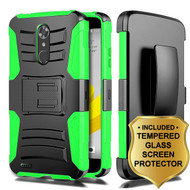 Advanced Armor Hybrid Kickstand Case + Holster + Tempered Glass Screen Protector for ZTE Max XL / Blade Max 3 - Green