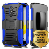 Advanced Armor Hybrid Kickstand Case + Holster + Tempered Glass Screen Protector for ZTE Max XL / Blade Max 3 - Blue
