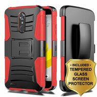 *SALE* Advanced Hybrid Kickstand Case + Holster + Tempered Glass Screen Protector for ZTE Max XL / Blade Max 3 - Red