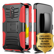 Advanced Armor Hybrid Kickstand Case + Holster + Tempered Glass Screen Protector for ZTE Max XL / Blade Max 3 - Red
