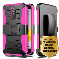 Advanced Armor Hybrid Kickstand Case + Holster + Tempered Glass Screen Protector for ZTE Max XL / Blade Max 3 - Hot Pink