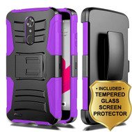 Advanced Armor Hybrid Kickstand Case + Holster + Tempered Glass Screen Protector for ZTE Max XL / Blade Max 3 - Purple