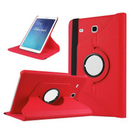 360 Rotating Leather Hybrid Case for Samsung Galaxy Tab E 9.6 - Red