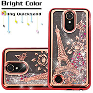 Electroplating Quicksand Glitter Transparent Case for LG K20 Plus / K20 V / Harmony - Eiffel Tower Rose Gold