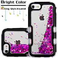 TUFF Quicksand Glitter Hybrid Armor Case for iPhone 6 / 6S / 7 - Meteor Shower Black Purple