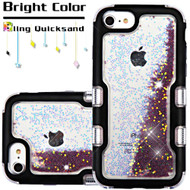 TUFF Quicksand Glitter Hybrid Armor Case for iPhone 8 / 7 / 6S / 6 - Beads Black Purple