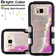 TUFF Quicksand Glitter Hybrid Armor Case for Samsung Galaxy S8 - Beads Black Purple