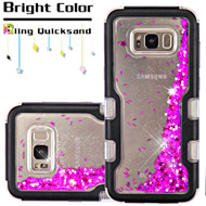 TUFF Quicksand Glitter Hybrid Armor Case for Samsung Galaxy S8 Plus - Meteor Shower Black Purple