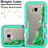 TUFF Quicksand Glitter Hybrid Armor Case for Samsung Galaxy S8 Plus - Meteor Shower Teal Green