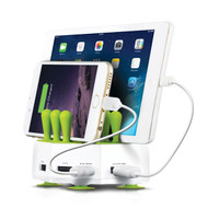 4 Port Grass Hub 6.8A USB Charging Station - White