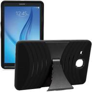 Shockproof Armor Kickstand Case for Samsung Galaxy Tab E 9.6 - Black