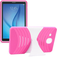 Shockproof Armor Kickstand Case for Samsung Galaxy Tab E 9.6 - Hot Pink White