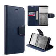 Urban Classic Leather Wallet Case for Samsung Galaxy S8 - Navy Blue
