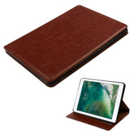 Book-Style Leather Folio Case for iPad (2017) - Brown