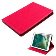 Book-Style Leather Folio Case for iPad (2017) - Hot Pink