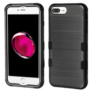 Military Grade Certified Brushed TUFF Hybrid Armor Case for iPhone 8 Plus / 7 Plus / 6S Plus / 6 Plus - Black