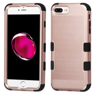 Military Grade Certified Brushed TUFF Hybrid Armor Case for iPhone 8 Plus / 7 Plus / 6S Plus / 6 Plus - Rose Gold