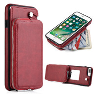 Vara Leather Wallet Case with Rotatable Zipper Compartment for iPhone 8 Plus / 7 Plus - Red