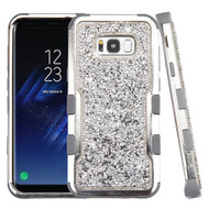 Military Grade Certified TUFF Vivid Mini Crystals Hybrid Armor Case for Samsung Galaxy S8 - Silver