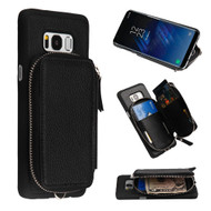 Vara Leather Wallet Case with Zipper Compartment for Samsung Galaxy S8 - Black