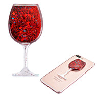 Adhesive Quicksand Glitter Sticker - Wine Glass Red