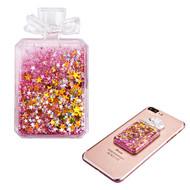 Adhesive Quicksand Glitter Sticker - Perfume Bottle Pink