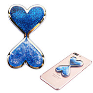 Adhesive Quicksand Glitter Sticker - Double Hearts Blue