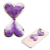 Adhesive Quicksand Glitter Sticker - Double Hearts Purple