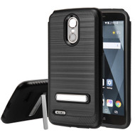 Brushed Multi-Layer Hybrid Armor Case with Kickstand for LG Stylo 3 / Stylo 3 Plus - Black