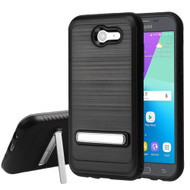 Brushed Multi-Layer Hybrid Stand Case for Samsung Galaxy J3 (2017) / J3 Emerge / J3 Prime / Amp Prime 2 / Sol 2 - Black