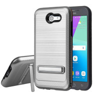 *Sale* Brushed Multi-Layer Hybrid Stand Case for Samsung Galaxy J3 (2017) / J3 Emerge / J3 Prime / Amp Prime 2 - Grey