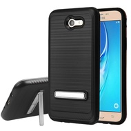 Brushed Multi-Layer Hybrid Armor Case with Kickstand for Samsung Galaxy J7 (2017) / J7 V / J7 Perx - Black