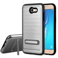 *Sale* Brushed Multi-Layer Hybrid Armor Case with Kickstand for Samsung Galaxy J7 (2017) / J7 V / J7 Perx - Grey