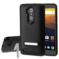 *Sale* Brushed Multi-Layer Hybrid Armor Case with Kickstand for ZTE Max XL / Blade Max 3 - Black